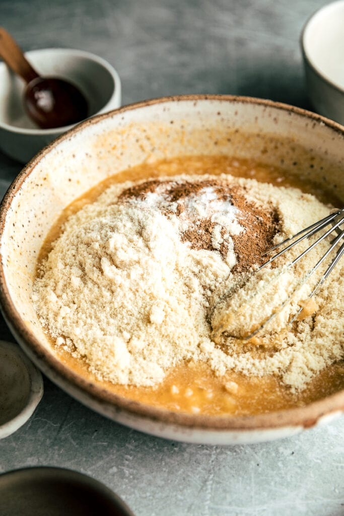 keto pumpkin bread batter in a bowl