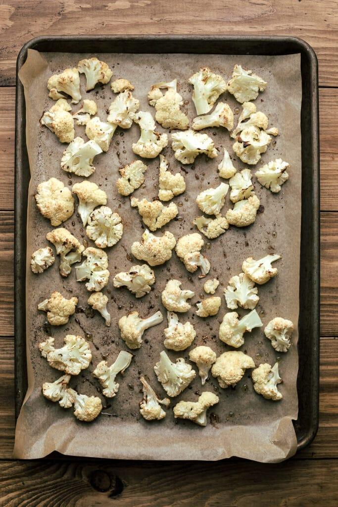 roasted cauliflower on sheet pan for keto shepherd's pie